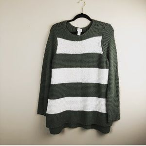 Chico's oversized olive white striped sweater sz 2